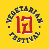 Vegetarian festival jay food vector sign illustration. On yellow Royalty Free Stock Photos