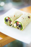 Vegetarian feta cheese and salad wrap Stock Photography
