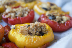 Vegetarian filled peppers Stock Photos