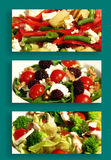 Vegetarian food. Served plates with tomato, potato, peppers and  black currants...Easy to select and cut  background. Collage Stock Image