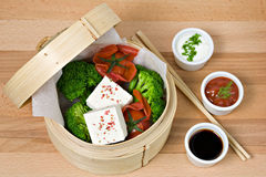 Vegetarian Food. Tofu with vegetable and sauce Stock Images
