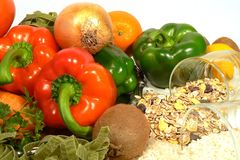 Vegetarian food. Healthy food fruit vegetables rice and cereals Royalty Free Stock Photos
