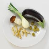 Vegetarian food. Dieting dinner on white plate stock photo