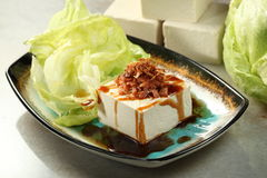 Vegetarian food. Chinese vegetarian bean curd or Tofu stock image
