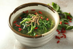 Vegetarian food. Chinese vegetarian herbs soup with spinach stock photo