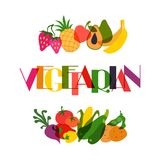 Vegetarian food. Background design with stylized Royalty Free Stock Images