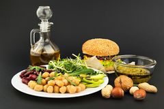 Vegetarian food on black background Royalty Free Stock Photo