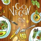 Vegetarian food on board illustration Royalty Free Stock Photos