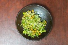 Vegetarian food. Buckwheat Salad. healthy food on a brown background.  stock photos