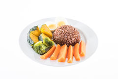 Vegetarian food, contains coarse rice, egg, carrot, pumpkin and Stock Photography