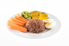Vegetarian food, contains coarse rice, egg, carrot, pumpkin and Stock Images