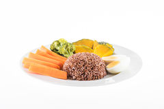 Vegetarian food, contains coarse rice, egg, carrot, pumpkin and Royalty Free Stock Image