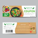Vegetarian food coupon discount template flat design Royalty Free Stock Image