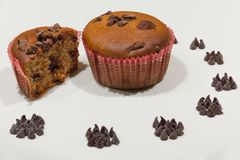 Vegetarian food. Vegetarian cupcake with chocolate chips Royalty Free Stock Photography
