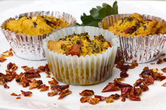 Vegetarian food. Vegetarian cupcake with dried tomatoes Royalty Free Stock Photo