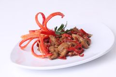 Vegetarian food delicious oyster mushrooms with red chili royalty free stock photography