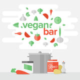 Vegetarian Food Flat Banner Concept Stock Images