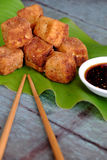 Vegetarian food, fried tofu. Frugal vegetarian food from Vietnamese cuisine, fried tofu with spice power, cover with crispy flour, homemade food on green leaf stock images