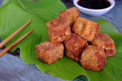 Vegetarian food, fried tofu. Frugal vegetarian food from Vietnamese cuisine, fried tofu with spice power, cover with crispy flour, homemade food on green leaf stock photography