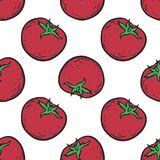 Tomato pattern. Vegetarian food. Hand drawn tomato seamless pattern. Vector vintage vegetables illustration.  For wrapping paper, street festival, farmers market Royalty Free Stock Images