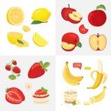 Vegetarian food icons in cartoon style. fresh organic fruits. Health fruity harvest illustration. Vegetarian food icons in cartoon style. fresh organic fruits royalty free illustration