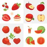 Vegetarian food icons in cartoon style. Red color fresh organic fruits. Health fruity harvest illustration. Vegetarian food icons in cartoon style. Red color stock illustration