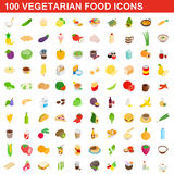 100 vegetarian food icons set, isometric 3d style. 100 vegetarian food icons set in isometric 3d style for any design vector illustration Stock Image