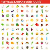 100 vegetarian food icons set, isometric 3d style. 100 vegetarian food icons set in isometric 3d style for any design illustration royalty free illustration