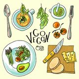 Vegetarian food illustration Royalty Free Stock Photography