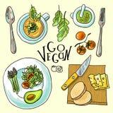 Vegetarian food illustration Royalty Free Stock Photography