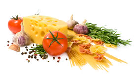 Vegetarian food : ingredients for italian pasta Royalty Free Stock Photography