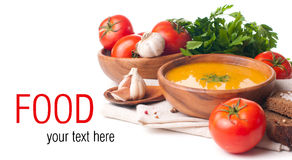 Vegetarian food isolated template Stock Photography