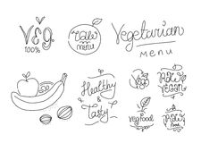 Vegetarian food labels. Hand drawn typographic elements. Vegan cuisine. Raw foods. Stock Photography