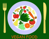 Vegetarian food. Laid out on a plate with knife and fork Royalty Free Illustration