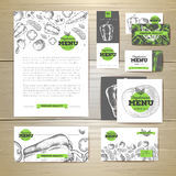Vegetarian food menu design. Corporate identity. Document Royalty Free Stock Photo