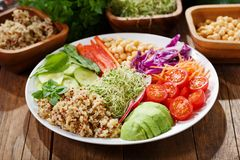 Vegetarian food. Plate of healthy salad with quinoa and vegetab