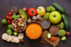 Vegetarian food products stock photos