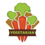 Vegetarian food promo logo with ripe crispy carrots vector illustration