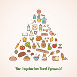 The vegetarian food pyramid. Composed of food icons including grains, vegetables, fruits, dairy, fortified dairy alternatives and added fats Stock Image