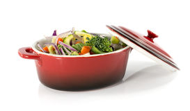 Vegetarian food in red saucepan Royalty Free Stock Image