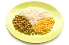 Vegetarian Food: Rice, Green Peas And Corn Stock Photos