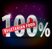 100% vegetarian food silver label with thumbs up typography vector- eps10. Created 100% vegetarian food silver label with thumbs up typography vector- eps10 Stock Images