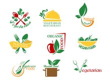 Vegetarian food symbols. With fruits and vegetables for design Stock Image