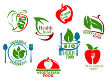 Vegetarian food symbols. Set for healthy lifestyle Royalty Free Stock Image