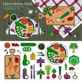 Vegetarian food on the table Royalty Free Stock Photos