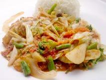 Vegetarian Food  with Tofu, Sweet radish and Curry & thai jasmine rice, Healthy food Stock Image