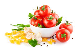 Vegetarian food with tomato and champignons royalty free stock photo