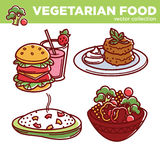Vegetarian food vector collection of tasty meals illustrations Royalty Free Stock Images