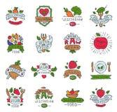 Vegetarian food vector logo symbol vegan eco organic farm products veggie health-food badge hand drawn bio healthy. Logotype set illustration isolated on white Stock Photo