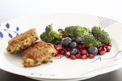 Vegetarian food. Vegetable cutlets from red lentils, onions, parsley and oatmeal. With salad of broccoli, pomegranate seeds and bl. Ueberries a variety of stock image